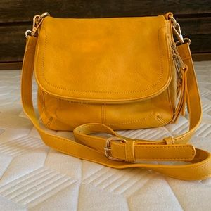 Leather crossbody saddle bag, yellow